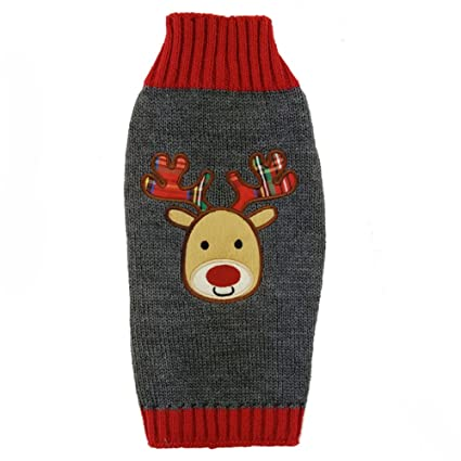 delifur dog ugly christmas sweater pet cat xmas reindeer christmas holiday knitted design by xl - Reindeer Christmas Sweater