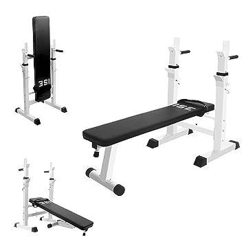 ISE Multifuncional Banco de Pesas Plegable-Bancos Musculacion Entrenamiento,Maquina Gimnasio Gym Blanco