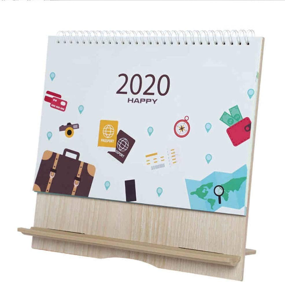 September 2019 December 2020 9.410.2 Inches Wooden Desk Calendar 2019-2020 Monthly Desk Pad Calendar