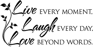 ZSSZ Live Every Moment, Laugh Every Day, Love Beyond Words. Vinyl Quotes Decals Art Letters Wall Décor Lettering Words Inspirational Motto