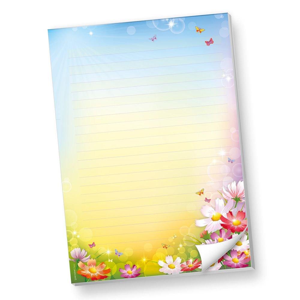 Schreibblöcke DIN A4 Liniert Florentina 4 BLÖCKE Briefpapier-Block Bunte Blumen TATMOTIVE