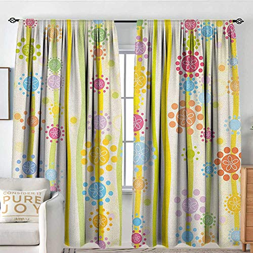 (Petpany Blackout Curtains Floral,Vertical Lines with Colorful Cartoon Style Flowers and Dots Kids Girls Fun Children, Multicolor,Rod Pocket Drapes Thermal Insulated Panels Home décor 84