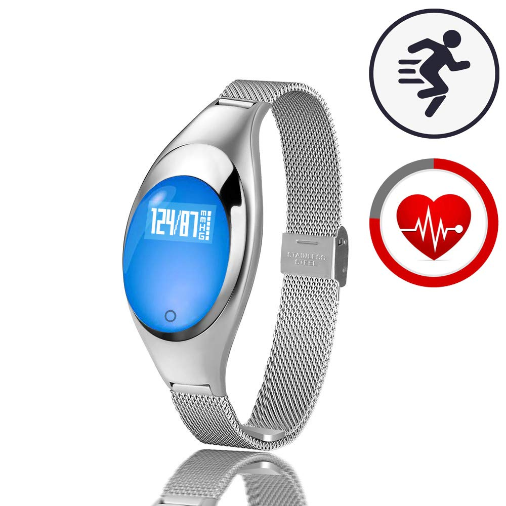 TMYIOYC Fitness Tracker, Women Smart Bracelet with Heart Rate Monitor, Pedometer, Wristband Smart Fitness Band with Sedentary Alert Health Sleep Activity Sports Tracker (Silver)