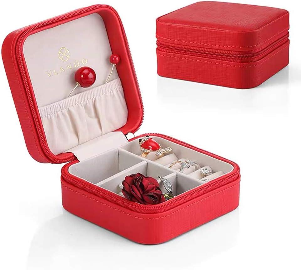 Vlando - Joyero pequeño de viaje de piel sintética, caja organizadora de anillos, pendientes y collares, con espejo: Amazon.es: Hogar