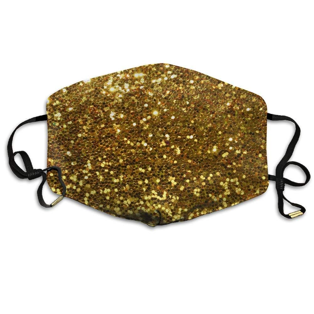 Gold Sequins Anti Dust Breathable Face Mouth Mask for Man Woman Wfispiy