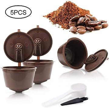 Womdee 3 cápsulas de café Reutilizables mejoradas, cápsulas Recargables compatibles con cápsulas, cápsulas de café sin BPA para Dolce Gusto con 1 Cuchara de plástico y 1 Cepillo de Limpieza: Amazon.es: Electrónica