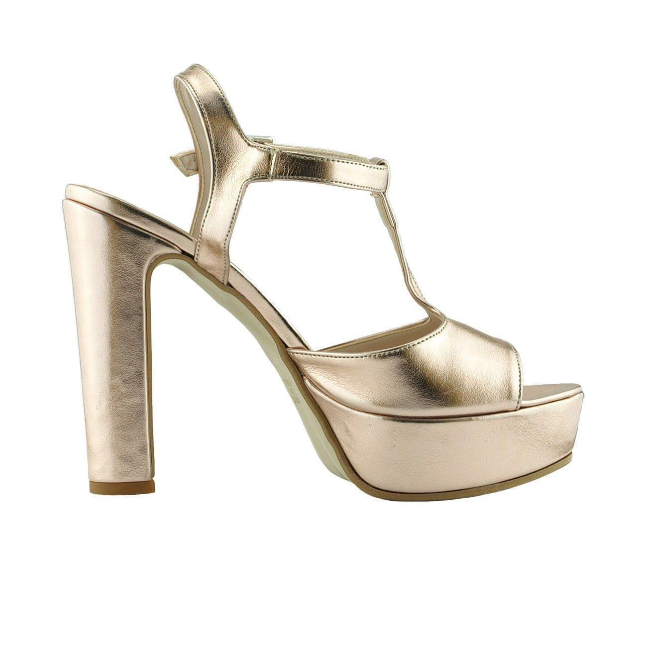 ANNO ZERO Damenschuhe mit Hohem Absatz, mit mit Absatz, Plateau E mit Knöchelriemen Sandalen Damen in Italien aus Echtem Leder 017 Cipria Laminato e1661e