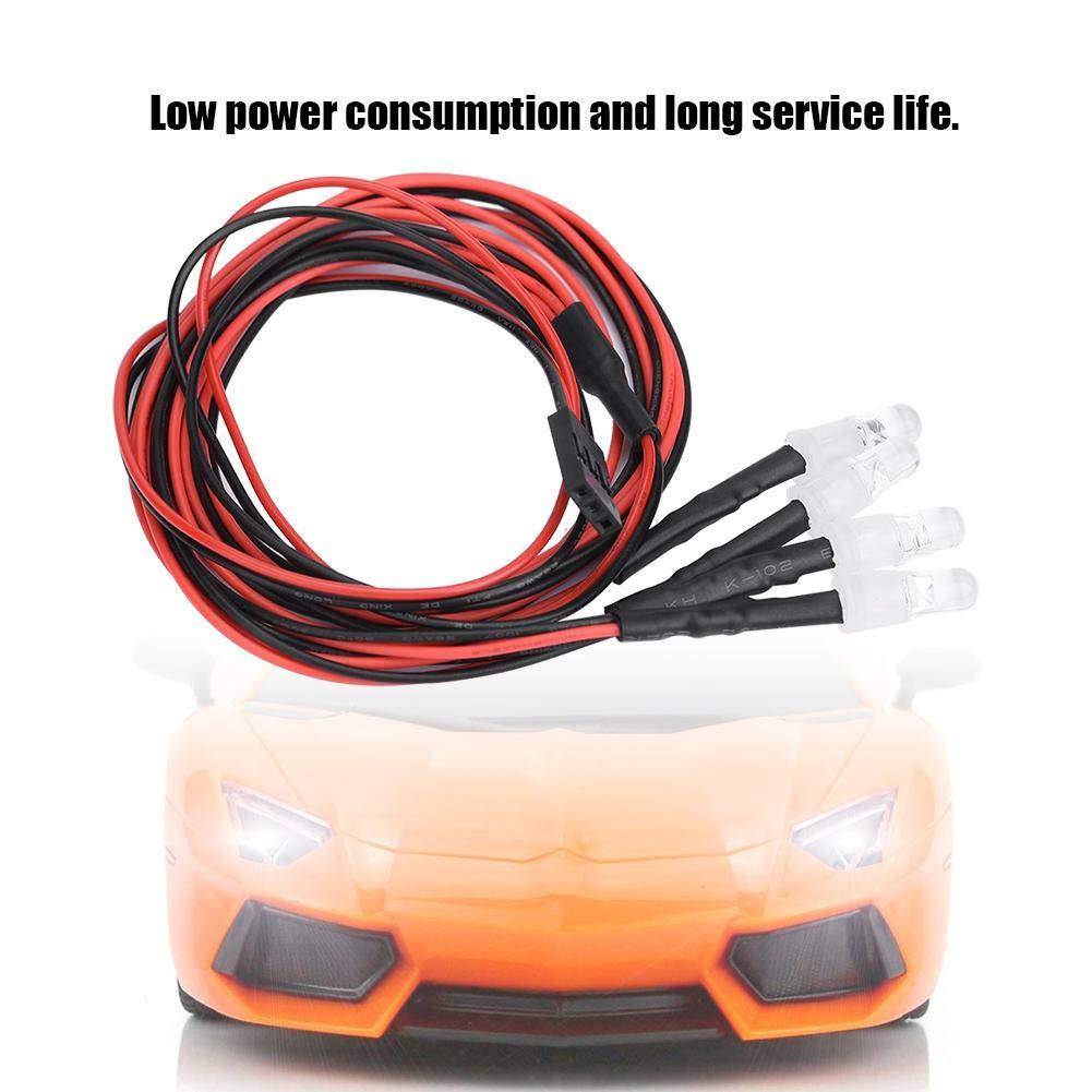 2# White Light 4 Pcs Headlights RC Accessory LED Lights for Model Drift Car Vehicle RC Car LED Lights