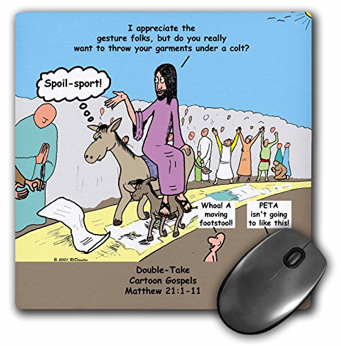 Triumphal Entry - 3dRose Rich Diesslins Funny Cartoon Gospel Cartoons - Matthew 21 01-11 Jesus triumphal entry and Matthew s double colt dilemma - MousePad (mp_33946_1)