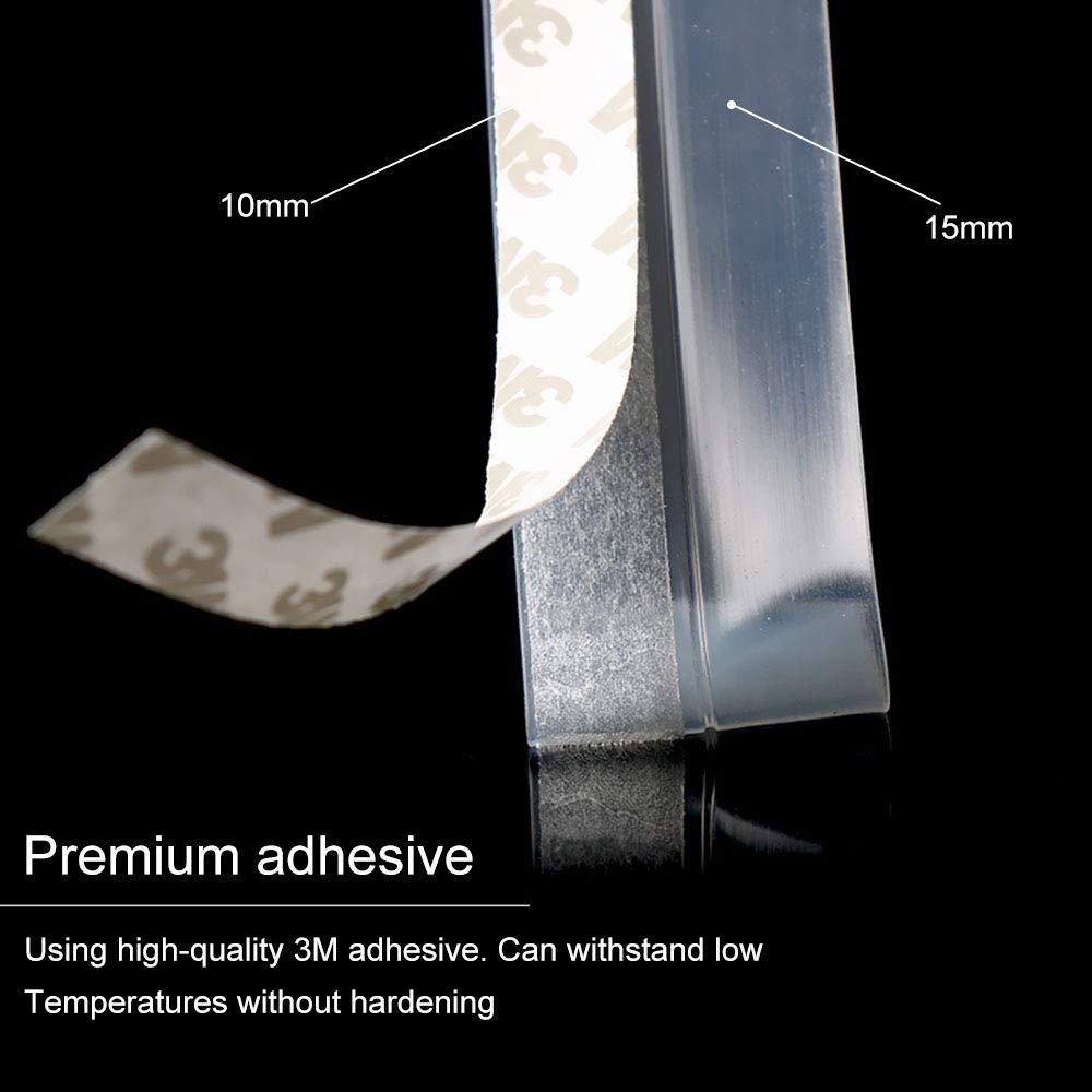 2,5x300 cm protezione antipolvere 2 pezzi antivento sportello striscia sigillante guarnizione autoadesiva Gwolf Striscia sigillante autoadesiva nastro sigillante siliconico trasparente