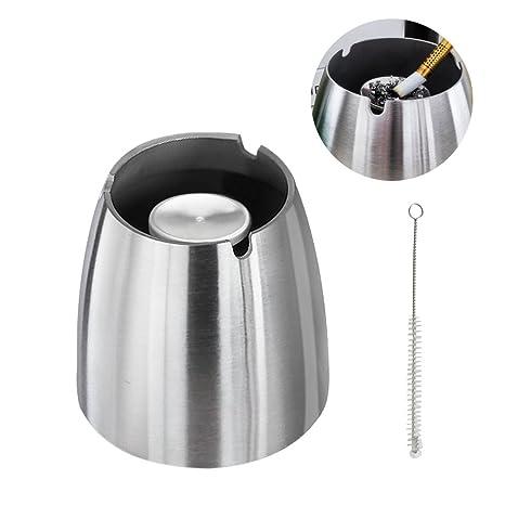 d06410e2f2 Zaeel Posacenere in acciaio inox posacenere antivento per la pulizia di  cenere di sigarette, moderno