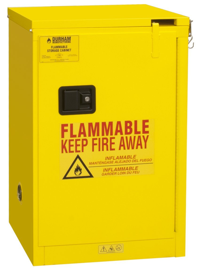 Durham FM Approved 1012S-50 Welded 16 Gauge Steel Fire Safety Self Closing Door Cabinet, 1 Shelves, 12 gallons Capacity, 18'' Length x 23'' Width x 36-3/8'' Height, Yellow Powder Coat Finish