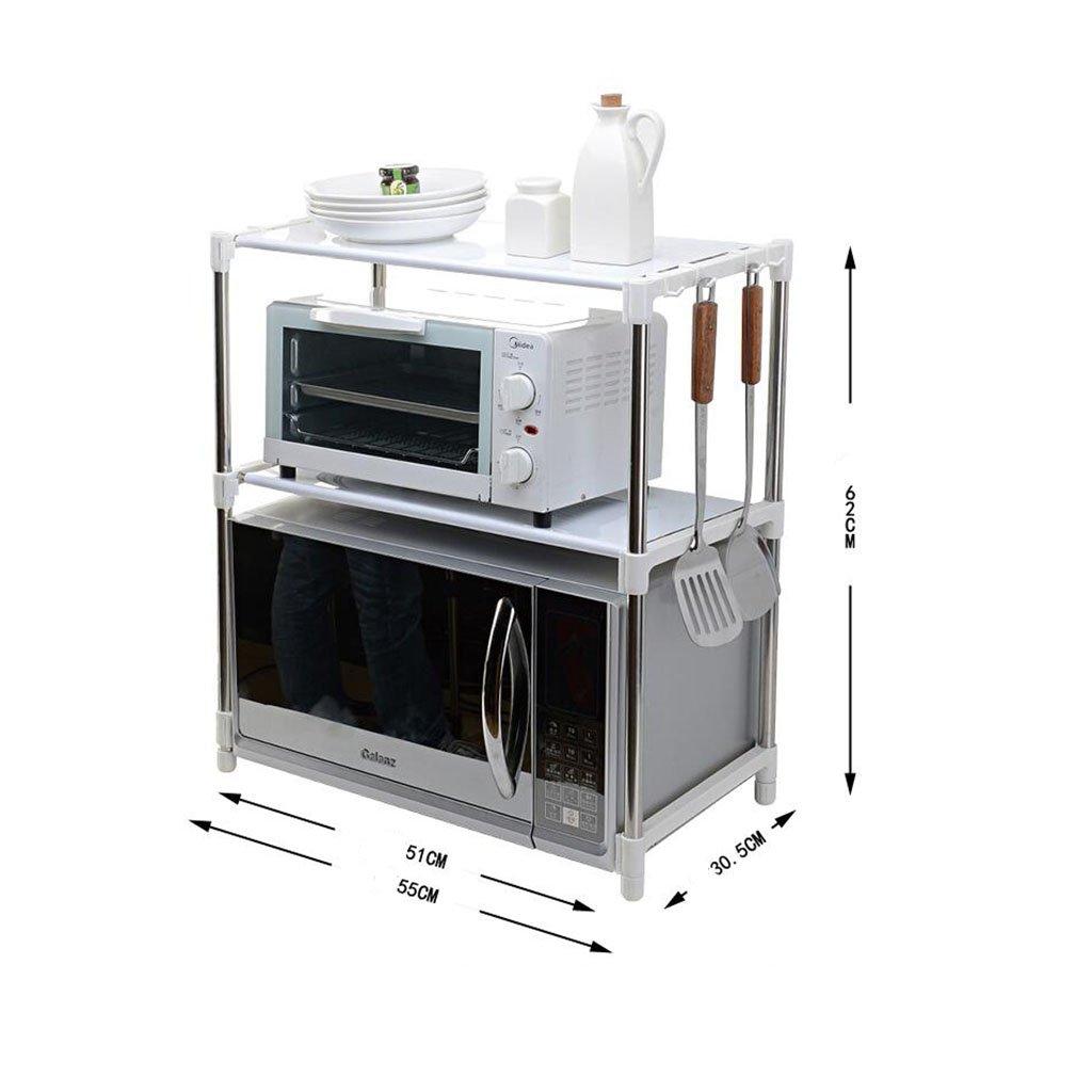 Muebles de cocina Ajustable de acero inoxidable multifuncional horno de microondas estante estante de pie tipo doble cocina sostenedores de almacenamiento ...