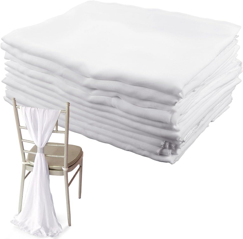 10x CHIFFON VERTICAL DROPS 70CMx2M 2 COLOURS DECOR CHAIR COVER WEDDING DECOR (White) White
