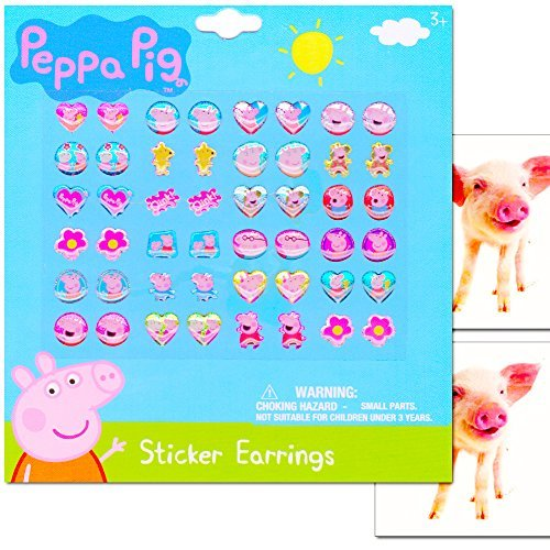 Peppa Pig Sticker Earrings for Girls Toddlers -- Set of 24 Pairs, 2 Pig Stickers (Costume Dress Up Party -
