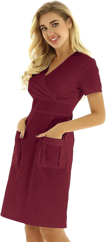 Freebily Camice Laboratorio Donna Chimica Uniforme Medico Manica Corta Farmacista Erboristeria in Cotone Classico Ospedaliero Medico Cappotto Infermiera Blu Bianco Rosa