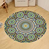 Gzhihine Custom round floor mat Arabesque Ethnic Moroccan Middle Eastern Oriental Traditional Vintage Islamic Mosaic Motif Bedroom Living Room Dorm Multicolor