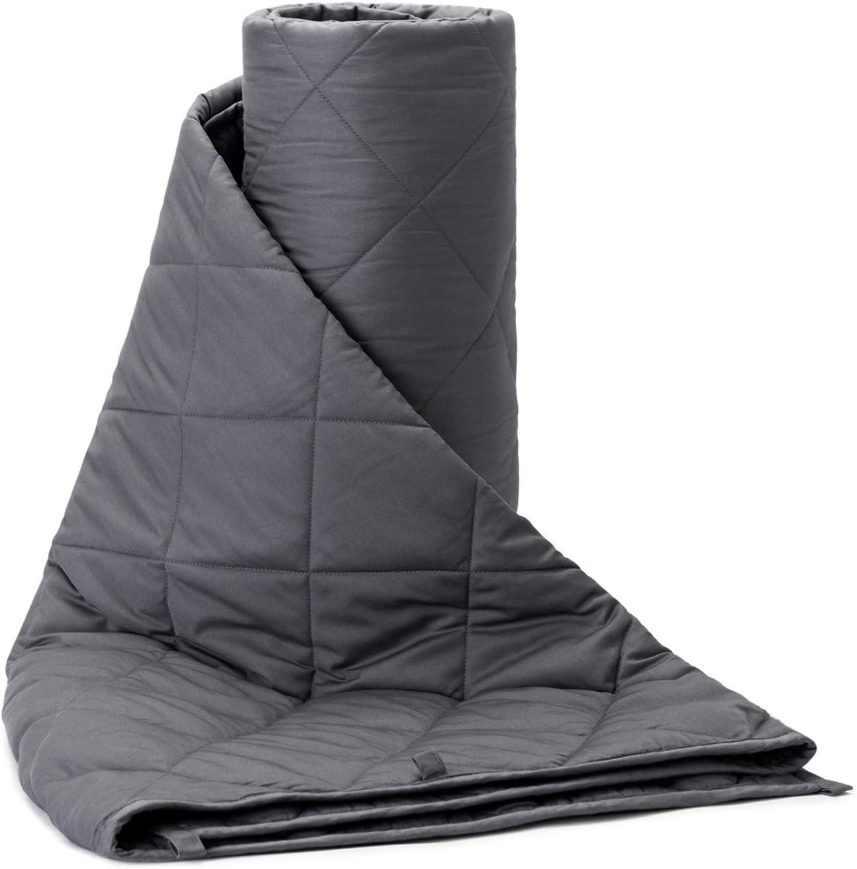 BUZIO Manta ponderada de 7 kg para Adultos de Alrededor de 70 kg, Manta Gruesa con algodón Fresco estándar Oeko-Tex y Cuentas de Vidrio Premium, tamaño Queen/King (220 x 230 cm, Gris)