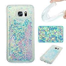 NEXCURIO [Glitter Liquid] Samsung Galaxy S7 Edge Case Soft Silicone Shockproof Scratch Resistant Protective Cover for Samsung Galaxy S7 Edge(Green #7)