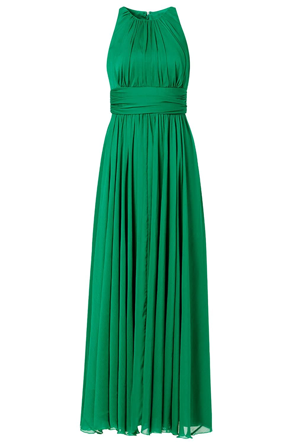 AngelDragon Elegant Halter Green Ruffle Formal Evening Dress Empire Prom Gown