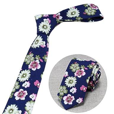 Zoylink Hombres Corbata Moda Floral Impresión Algodón Casual ...