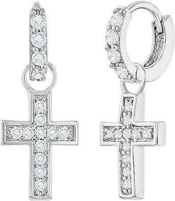 Rhodium Plated Sterling Silver CZ Cross Drop Earrings
