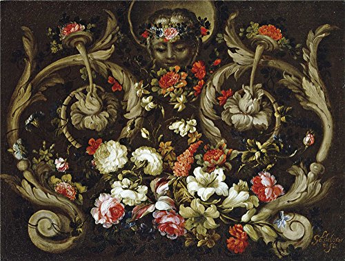 The Polyster Canvas Of Oil Painting 'Corte Gabriel De La Mascaron Con Flores 1670 80 ' ,size: 24 X 32 Inch / 61 X 81 Cm ,this Best Price Art Decorative Prints On Canvas Is Fit For Nursery Decoration And Home Decor And Gifts (Mascara Blanca Halloween)