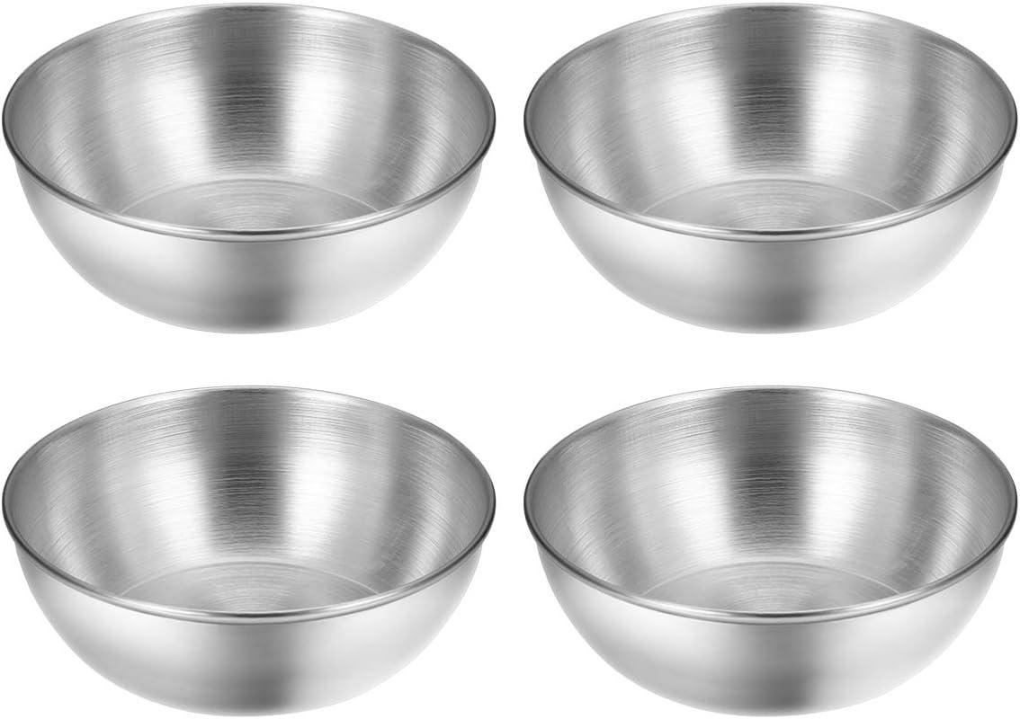 BESTONZON 4pcs Stainless Steel Sauce Dishes Round Seasoning Dishes Sushi Dipping Bowl Saucers Bowl Mini Appetizer Plates