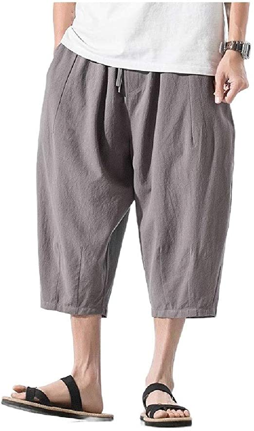Candiyer Mens Chinese Style Solid Color Half Pants Plus-size Loose Fit Pants