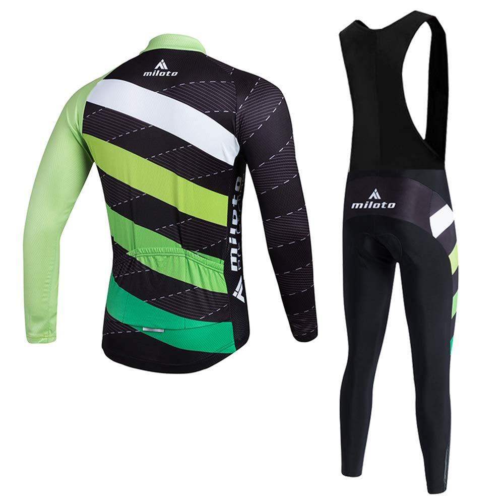 MILOTO Mens Cycling Jersey Set Long Sleeve Top Black Bib Pants