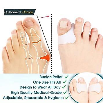 Toe Separators Straighteners Stretchers Spreader Spacers,4 PCS Gel Pedicure Toe Separators for Bunions,Hammer Toe Straightener for Hallux Valgus ...