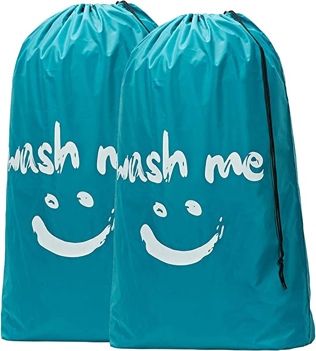 HOMEST 2 Pack XL Wash Me Travel Laundry Bag, Machine Washable Dirty Clothes Organizer, Large Enough to Hold 4 Loads of Laundry, Easy Fit a Laundry Hamper or Basket, Blue