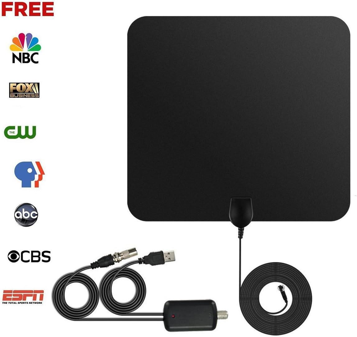 Antena de TV Interior Portátil, Ztyme 50 Millas 1080P con Desmontable Amplificador de Señal y Amplificador Avanzado y Cable Coaxial de 13 Pies: Amazon.es: Electrónica