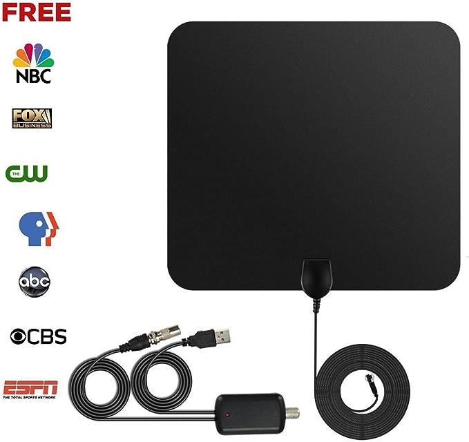 Antena de TV Interior Portátil, Ztyme 50 Millas 1080P con Desmontable Amplificador de Señal y Amplificador Avanzado y Cable Coaxial de 13 Pies