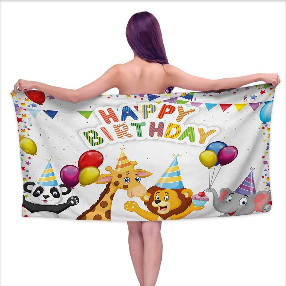 Onefzc Bath Towel Kids Birthday Cartoon Style Safari Jungle Animals at a Party with Flags and Balloons Image Super Soft Highly Absorbent W35 x L12 Multicolor