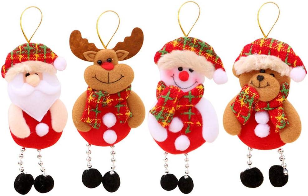 Adornos navideños de felpa, 4 piezas Adornos de árbol de Navidad Papá Noel Reno Muñeca Oso Colgante de árbol de Navidad Decoraciones colgantes para Colgante de árbol de Navidad Decoración de fiesta