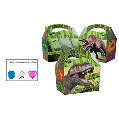16 Childrens Kids Dinosaur Carry Food Meal Picnic Birthday Party Bag Boxes: Kitchen & Dining