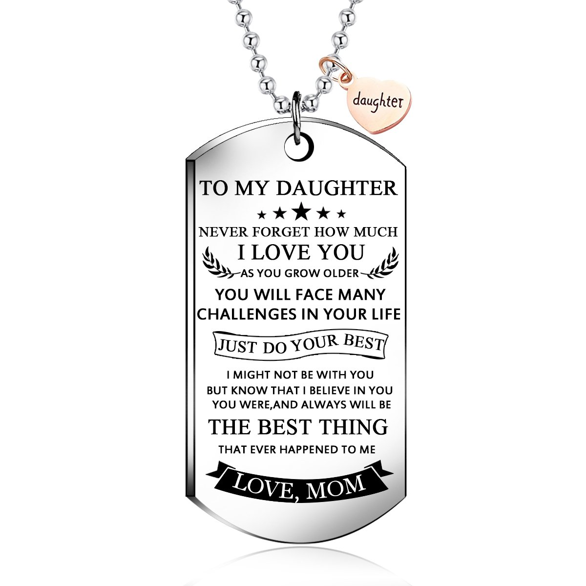 NOVLOVE To my daughter from mom Stainless Steel Dog Tag Letters To my daughter never forget how.love mom Pendant Necklace,Inspirational Gifts For daughter Jewelry