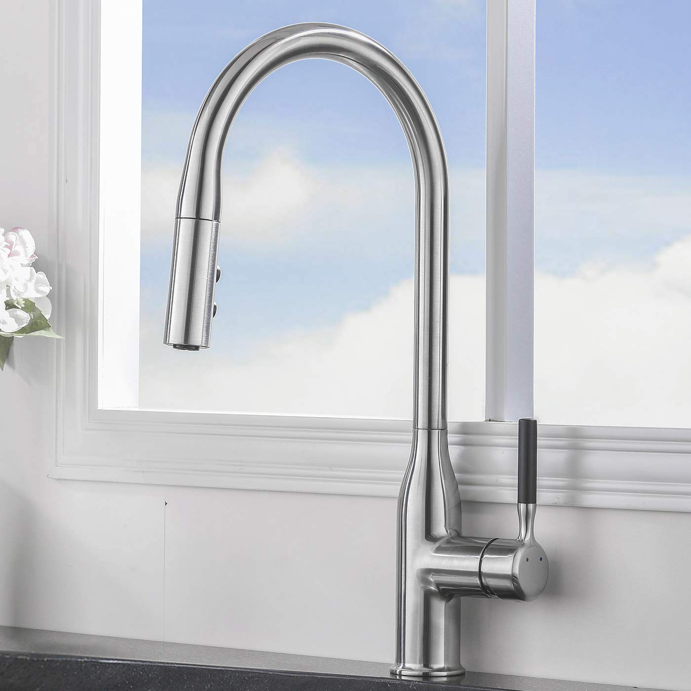 Comllen Commercial Single Handle Pull Down Sprayer Kitchen Faucet,Brushed Nickel Stainless Steel High Arc Kitchen sink Faucet Without Deck Plate