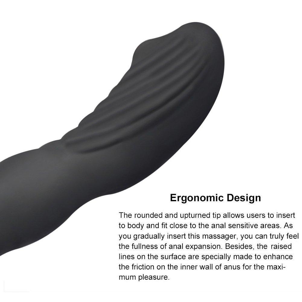 Prostata Stimulator Vibratoren, James Love Silikon Analvibratoren mit 12 Frequenzen, Wasserdicht Wiederaufladbar Analplug G Punkt Vibrator Prostata Massage für Männer oder Paar (Schwarz)