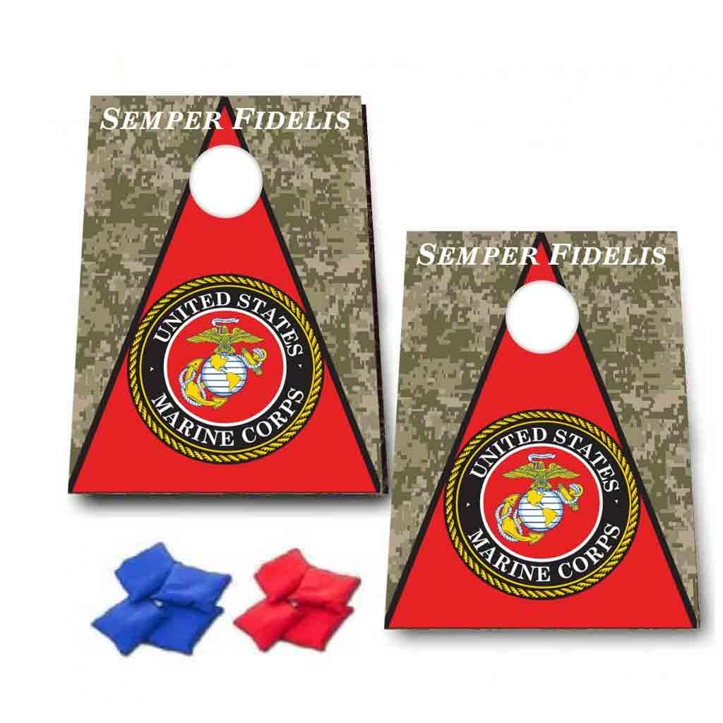 海兵隊Semper Fidelis Cornhole Game – MillitaryバッグToss Game – 8バッグIncluded – 木製ボード – Made in the USA B076TQ95NN