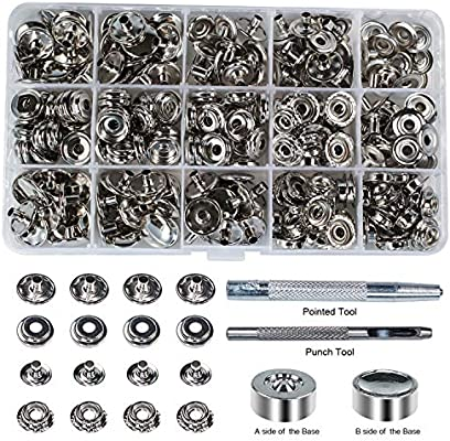 100 Sets 15mm 5//8 Metal Snap Fastener Leather Craft Rapid Rivet Button Setting Sewing Tool Gold
