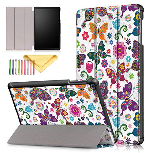 """Case for SM-T510/T515, Galaxy Tab A 10.1 Inch 2019 Cover, Cookk Ultra Lightweight Slim Folding Stand Skinshell Case Compatible with Samsung Galaxy Tab A 10.1"""" 2019, Color Butterfly"""