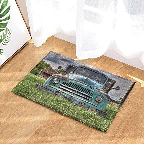 Farm House Decor Wooden Barn with Rusic Truck in Forest Bath Rugs Non-Slip Doormat Floor Entryways Indoor Front Door Mat Kids Bath Mat 15.7X23.6In Bathroom Accessories