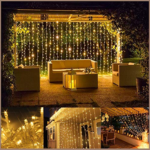 Quntis LED Curtain Lights, LED String Lights 300 LEDs 29V Warm White LED Fairy Icicle Starry Lights Decor for Home Bedroom Kitchen Garden Window Wedding Party Holiday Christmas, UL588 Certified by Quntis (Image #5)