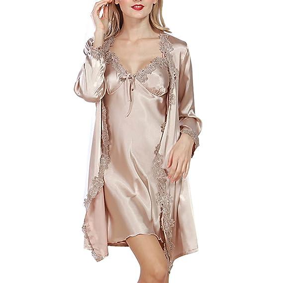 d96c61b485f07 Nuisette Peignoir Femme Chemises de nuit Robe de Chambre Sexy Satin  Nuisette Bretelles Réglable Robe Peignoir