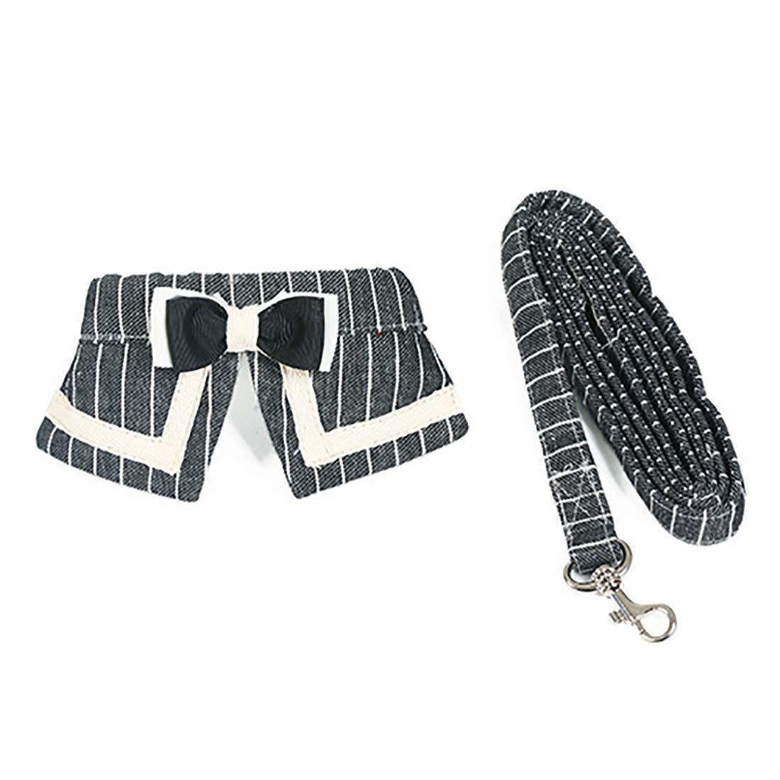 Black L Black L MISSKERVINFENDRIYUN Dogs Chest Strap Puppy Chain Stripe Tie Collar Tie Pull Belt Cat Chest Harness Traction (color   Black, Size   L)