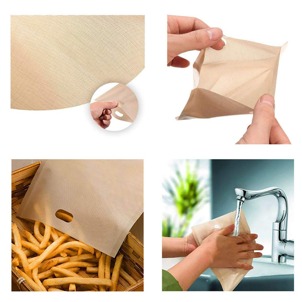 Wffo Toaster Bags Reusable for Grilled Cheese Sandwich Non-Stick Heat Resistant Perfect for Grilled Cheese Sandwiches Chicken (A)