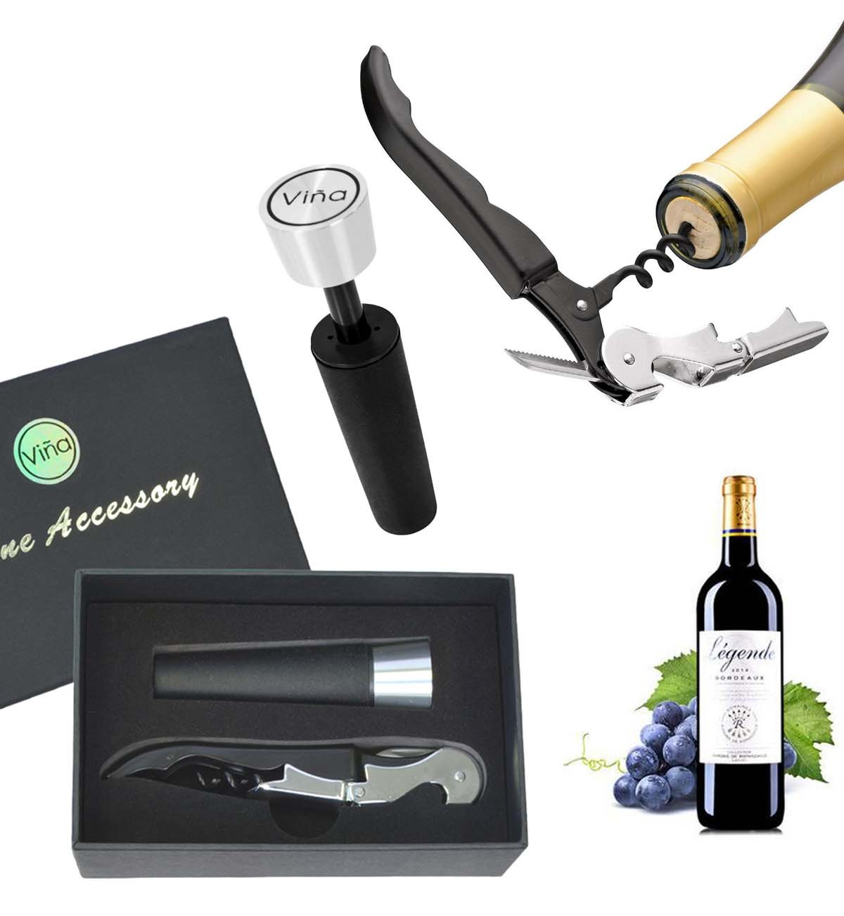 Vina Wine Bottle Opener Corkscrew + Vacuum Stopper, Stainless Steel Hippocampal Knife, 2pc Wine Accessory Set