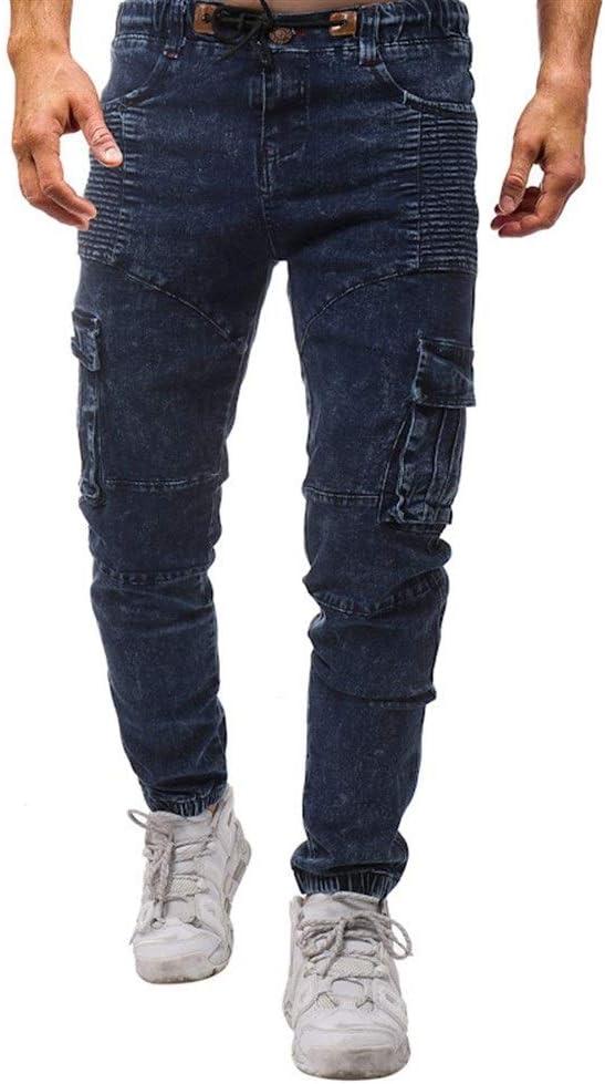 メンズジップワイドパンツ 新しいファッションプリーツサイドポケットは、弾性テザーは、綿カジュアルメンズジーンズを洗っ エフェクトライトウォッシュ (Color : Blue, Size : 32)